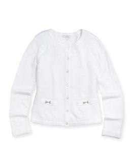GUCCI Knit Horsebit Cardigan, White, Girls'