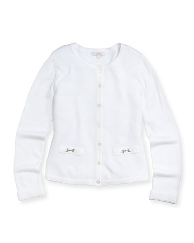 GUCCI Knit Horsebit Cardigan, White, Girls'