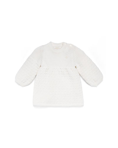 GUCCI Long-Sleeve Knit Dress, White, Girls' 0-36 Months
