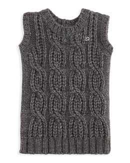 GUCCI Knit Sleeveless Sweater Dress, Gray