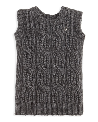 GUCCI Knit Sleeveless Sweaterdress, Gray