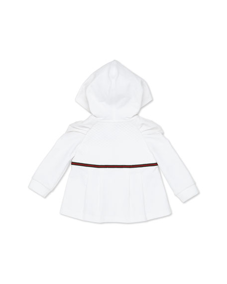 Zip Sweatshirt with Web Detail, White, Girls' 0-36 Months