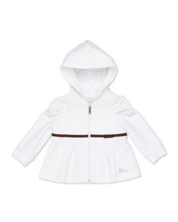 GUCCI Zip Sweatshirt with Web Detail, White, Girls' 0-36 Months