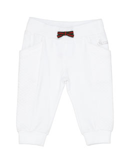 GUCCI Track Pants with Web Bow, White, Girls' 0-36 Months