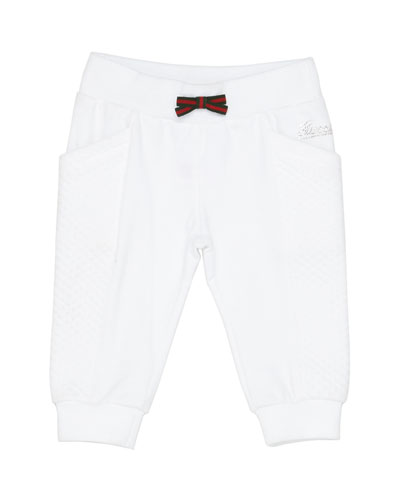 Track Pants with Web Bow, White, Girls