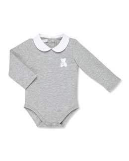 Gucci GG Teddy Long-Sleeve Bodysuit, Gray, Girls' 0-24 Months