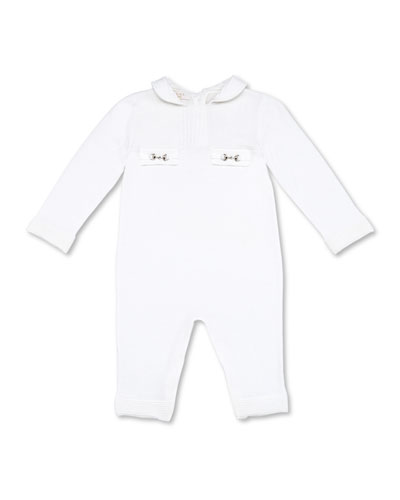 Gucci Long-Sleeve Horsebit Playsuit, White, Girls' 0-24 Months