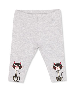 GUCCI Cat-Print Leggings, Gray, Girls' 0-36 Months