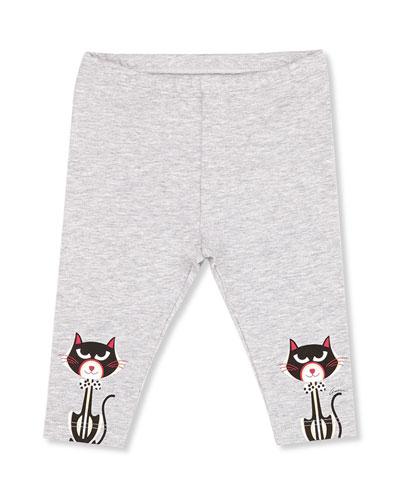 GUCCI Cat-Print Leggings, Gray, Girls' 0-36 Months