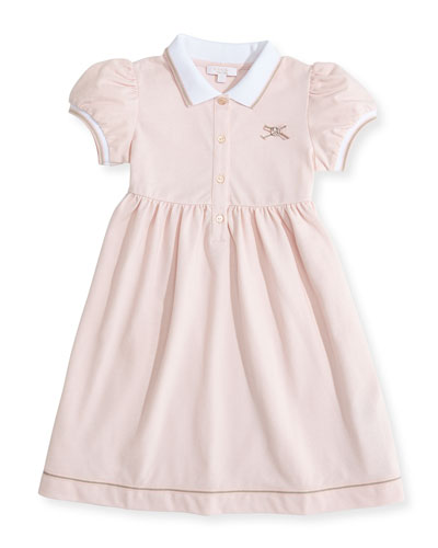 GUCCI Web-Detail Short-Sleeve Polo Dress, Pink, 0-36 Months