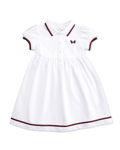 GUCCI Web-Detail Short-Sleeve Polo Dress, White, 0-36 Months