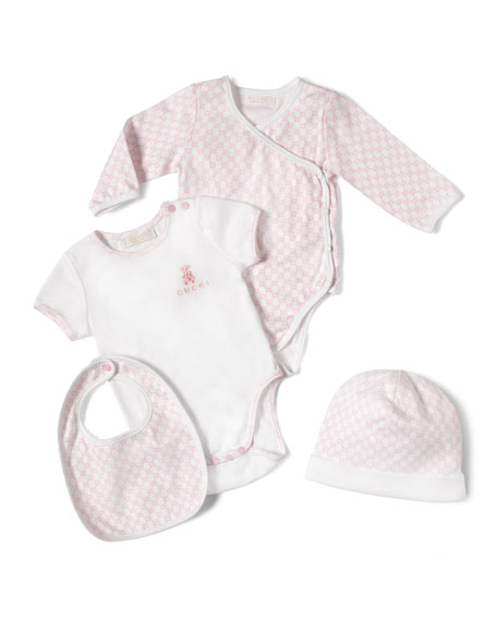 Gucci 4-Piece Baby Girl Gift Set, White/Pink