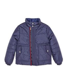 Gucci Zip-Front Puffer Jacket, Navy, 4-12