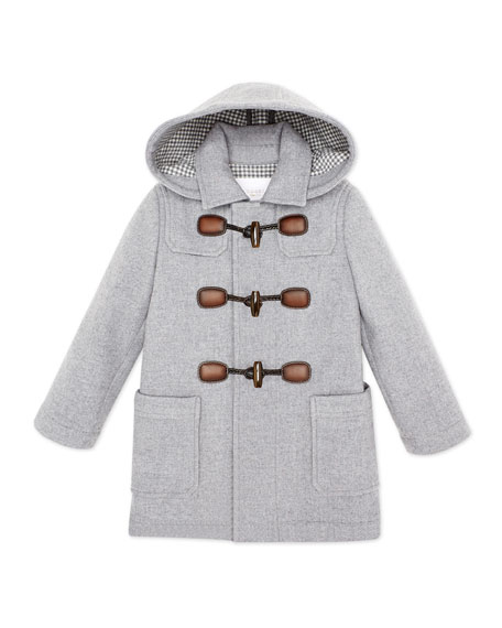 Gucci Hooded Wool-Blend Toggle Coat, Gray, Girls' Sizes 4-12