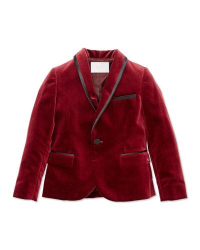 Velvet & Satin Jacket, Cranberry, Boys' Sizes 4-12