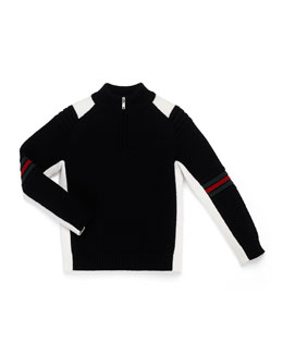 GUCCI Zip-Mock-Neck Sweater, Black/White, Kids' 4-12