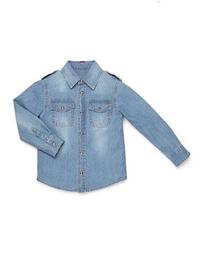 Gucci Long-Sleeve Button-Down Denim Shirt, Kids' Sizes 4-12