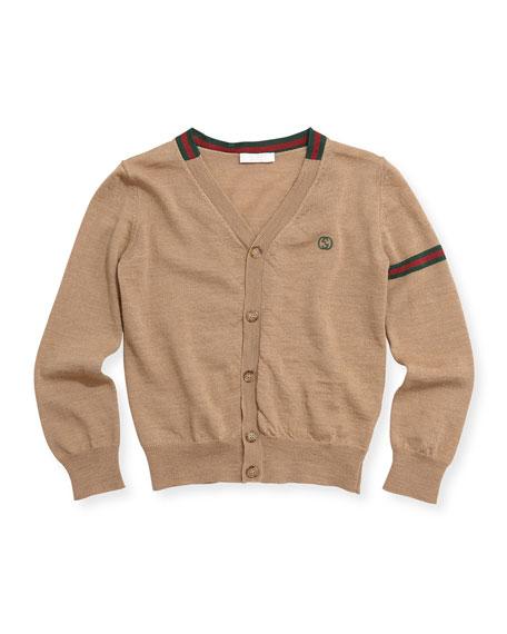 Gucci Web-Detail V-Neck Cardigan, Camel, Sizes 4-12
