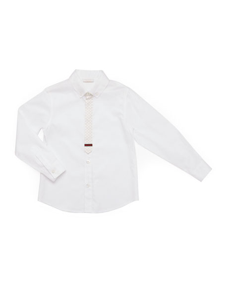 Gucci Long-Sleeve Button-Down Shirt, White, Kids' Sizes 4-12