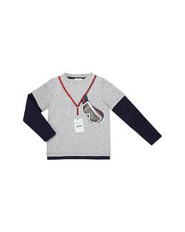 Gucci Long-Sleeve Ski Tee, Gray, Kids' Sizes 4-12