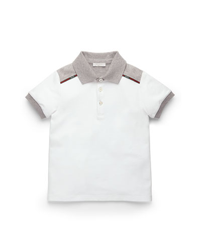 Short-Sleeve Colorblock Polo, White/Gray, Kids