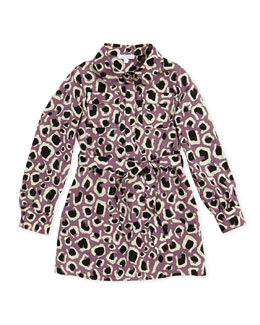 GUCCI Leopard-Print Faille Shirtdress, Lilac, Girls' Sizes 4-12