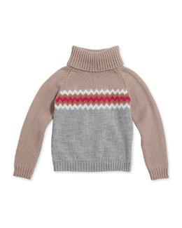 GUCCI Chevron Knit Turtleneck, Girls' Sizes 4-12