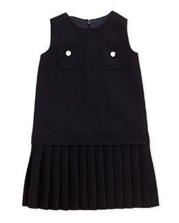 Pleated Pocket Dress, Navy, Sizes 4-12