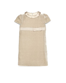 GUCCI Short-Sleeve Velvet Dress, Camel, 4Y-12Y