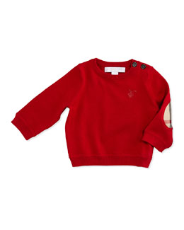 Burberry Gerrad Check Knit Sweater, Red, 3M-18M