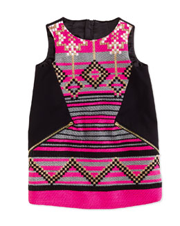 Milly Minis Jacquard Shift Dress, Black/Pink, Sizes 8-12