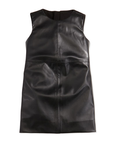 Milly Minis Faux-Leather Paneled Dress, Black, Girls' Sizes 2-7