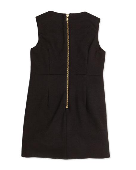 Faux-Leather Paneled Dress, Black, Girls' Sizes 8-12