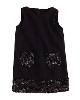 Combo Sequin Shift Dress, Black, Sizes 2-7