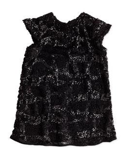 Sequin Cap-Sleeve Dress, Girls' 2-7