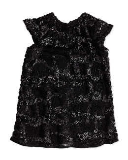 Sequin Cap-Sleeve Dress, Girls' 8-12