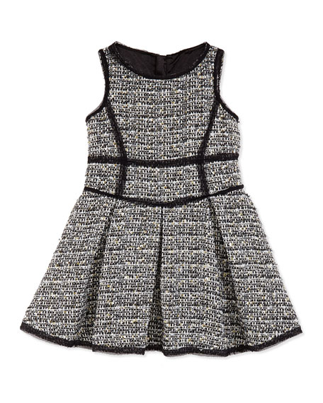 Metallic Tweed Scoop-Neck Dress, Girls' 8-12