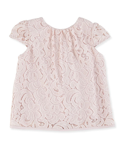 Floral Lace Cap-Sleeve Top, Girls
