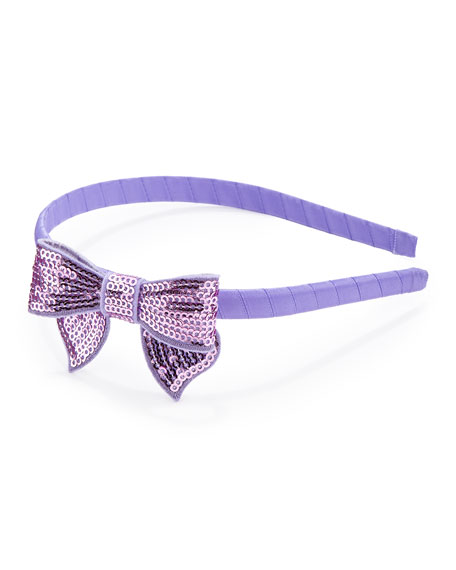 Headband with Sequined Bow, Purple
