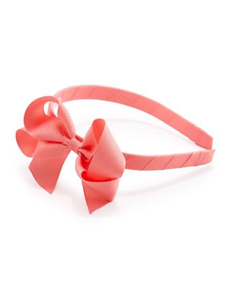 Grosgrain 3D-Bow Headband, Pink