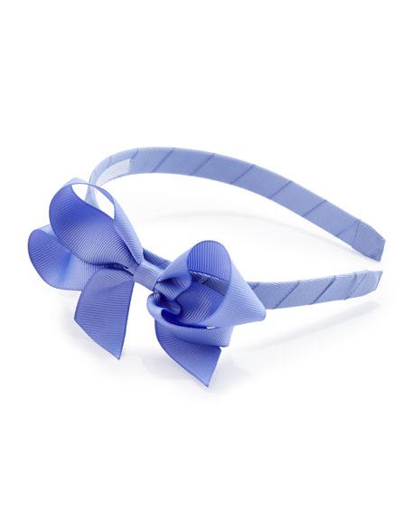 Grosgrain 3D-Bow Headband, Periwinkle
