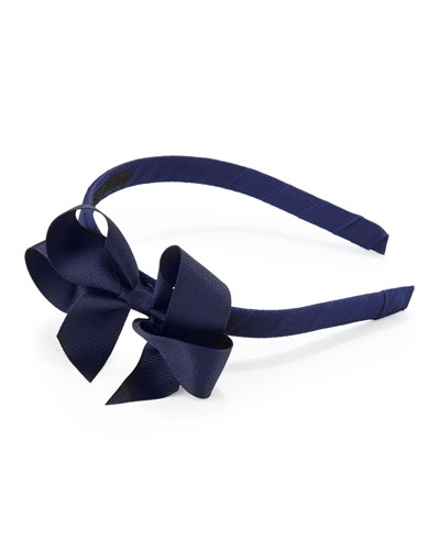 Bow Arts Grosgrain 3D-Bow Headband, Navy