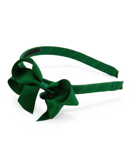 Grosgrain 3D-Bow Headband, Forest Green