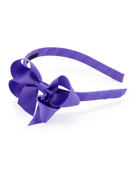 Grosgrain 3D-Bow Headband, Delphinium Purple