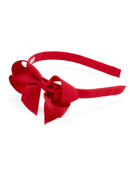 Grosgrain 3D-Bow Headband, Ruby