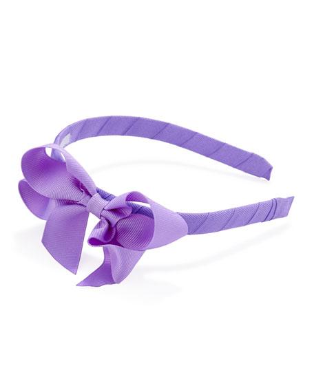 Grosgrain 3D-Bow Headband, Orchid