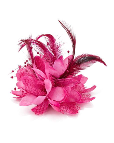 Feathered Lace Fascinator Hair Clip, Azalea