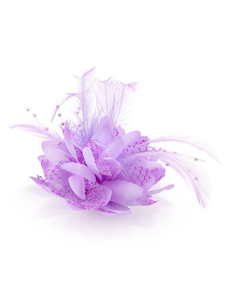 Feathered Lace Fascinator Hair Clip, Lilac