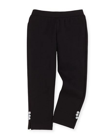 Milly Minis Ponte Rhinestone-Button Leggings, Black, Sizes 2-7
