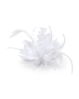 Bow Arts Feathered Lace Fascinator Hair Clip, White